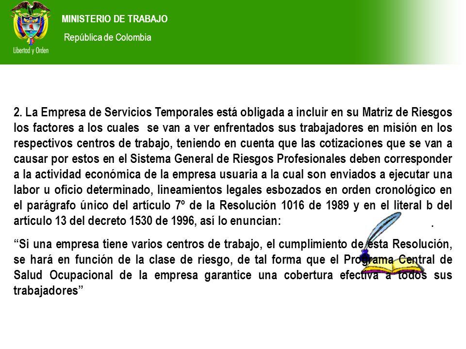 MINISTERIO DE TRABAJO República de Colombia. 2. La Empresa de Servicios Temporales está obligada a incluir en su Matriz de Riesgos los factores a los