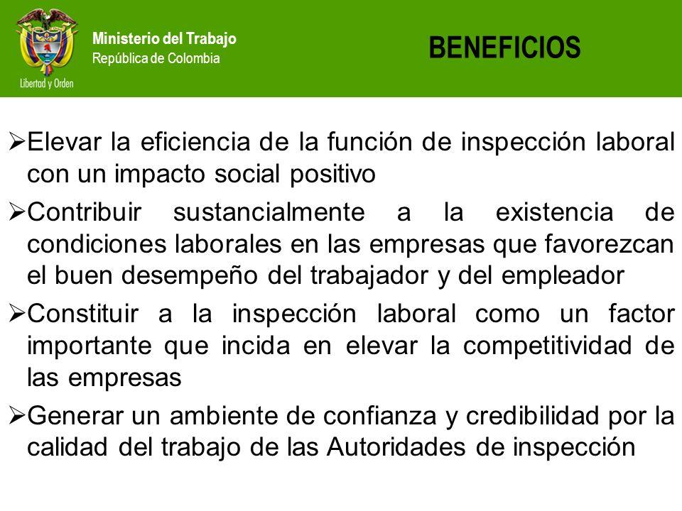Ministerio del Trabajo República de Colombia Elevar la eficiencia de la función de inspección laboral con un impacto social positivo Contribuir sustan