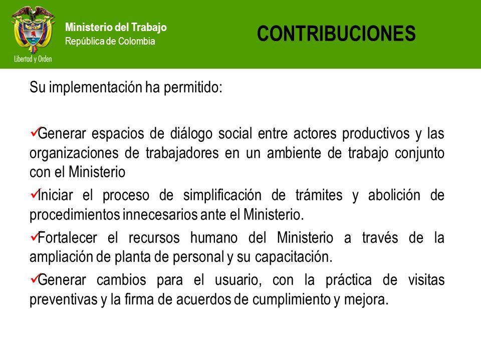 Ministerio del Trabajo República de Colombia CONTRIBUCIONES Su implementación ha permitido: Generar espacios de diálogo social entre actores productiv