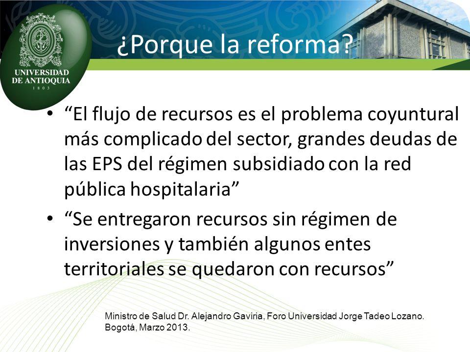 ¿Porque la reforma? El flujo de recursos es el problema coyuntural más complicado del sector, grandes deudas de las EPS del régimen subsidiado con la