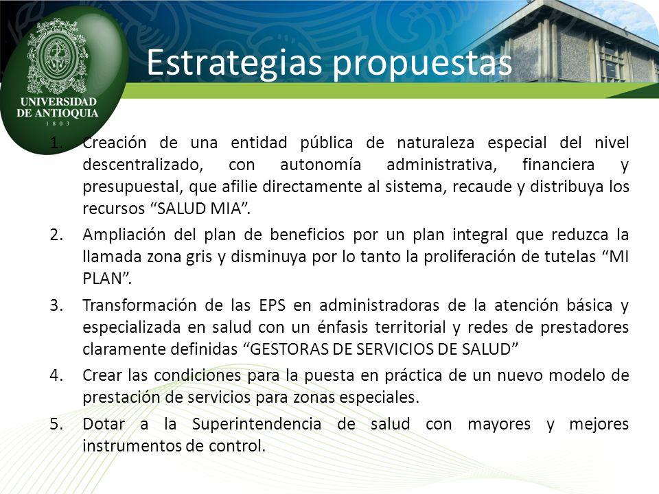 Estrategias propuestas 1.Creación de una entidad pública de naturaleza especial del nivel descentralizado, con autonomía administrativa, financiera y