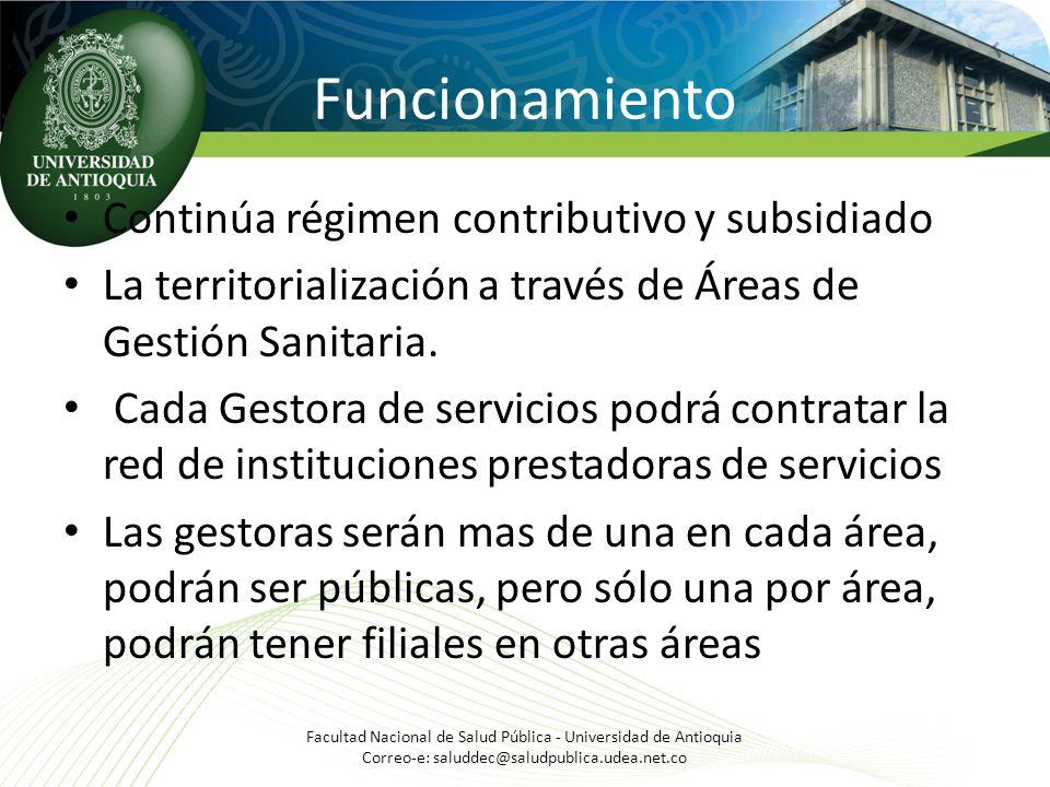 Funcionamiento Continúa régimen contributivo y subsidiado La territorialización a través de Áreas de Gestión Sanitaria. Cada Gestora de servicios podr