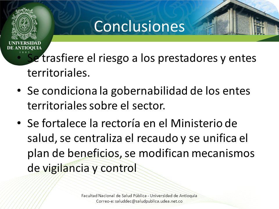 Conclusiones Se trasfiere el riesgo a los prestadores y entes territoriales. Se condiciona la gobernabilidad de los entes territoriales sobre el secto