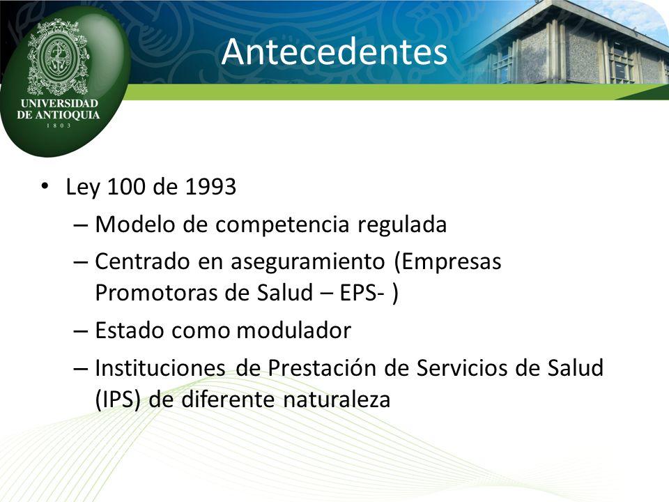 Antecedentes Ley 100 de 1993 – Modelo de competencia regulada – Centrado en aseguramiento (Empresas Promotoras de Salud – EPS- ) – Estado como modulad