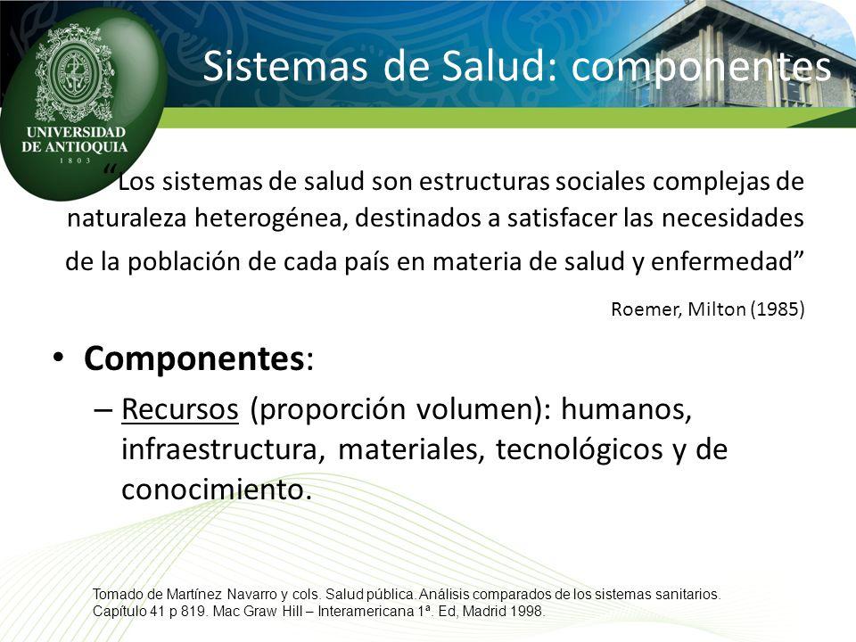 Sistemas de Salud: componentes Los sistemas de salud son estructuras sociales complejas de naturaleza heterogénea, destinados a satisfacer las necesid