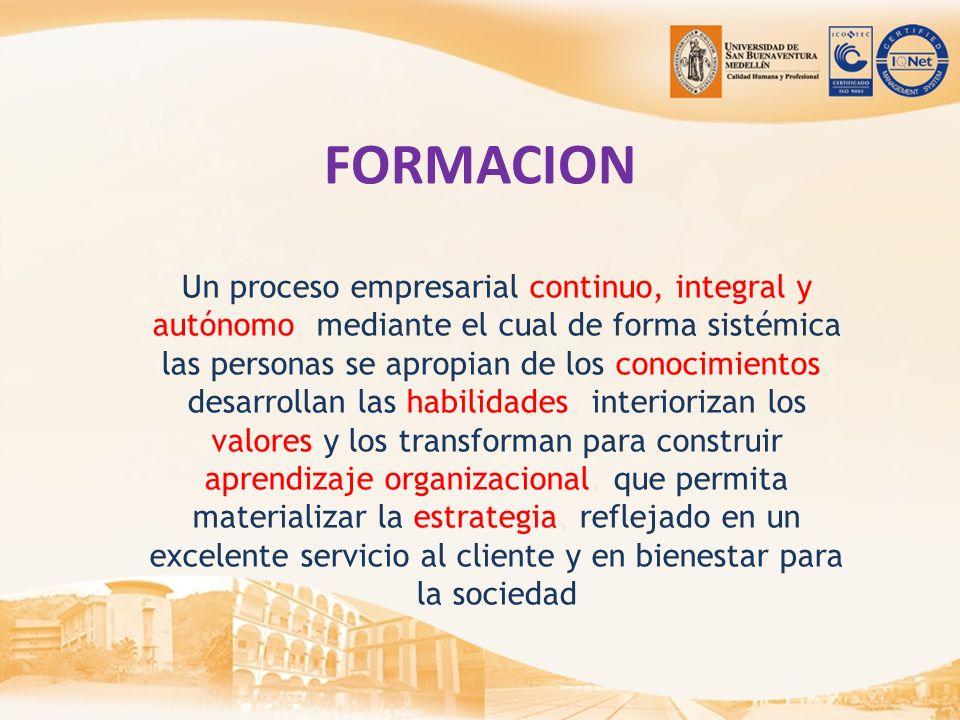 FORMACION Un proceso empresarial continuo, integral y autónomo, mediante el cual de forma sistémica las personas se apropian de los conocimientos, des