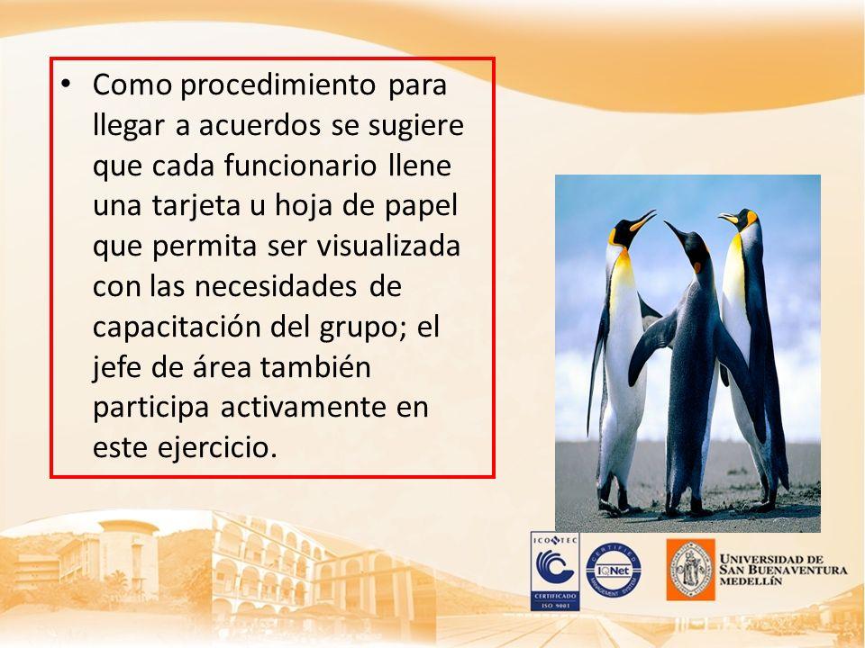 Como procedimiento para llegar a acuerdos se sugiere que cada funcionario llene una tarjeta u hoja de papel que permita ser visualizada con las necesi