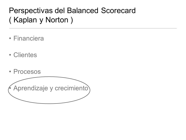 Perspectivas del Balanced Scorecard ( Kaplan y Norton ) Financiera Clientes Procesos Aprendizaje y crecimiento