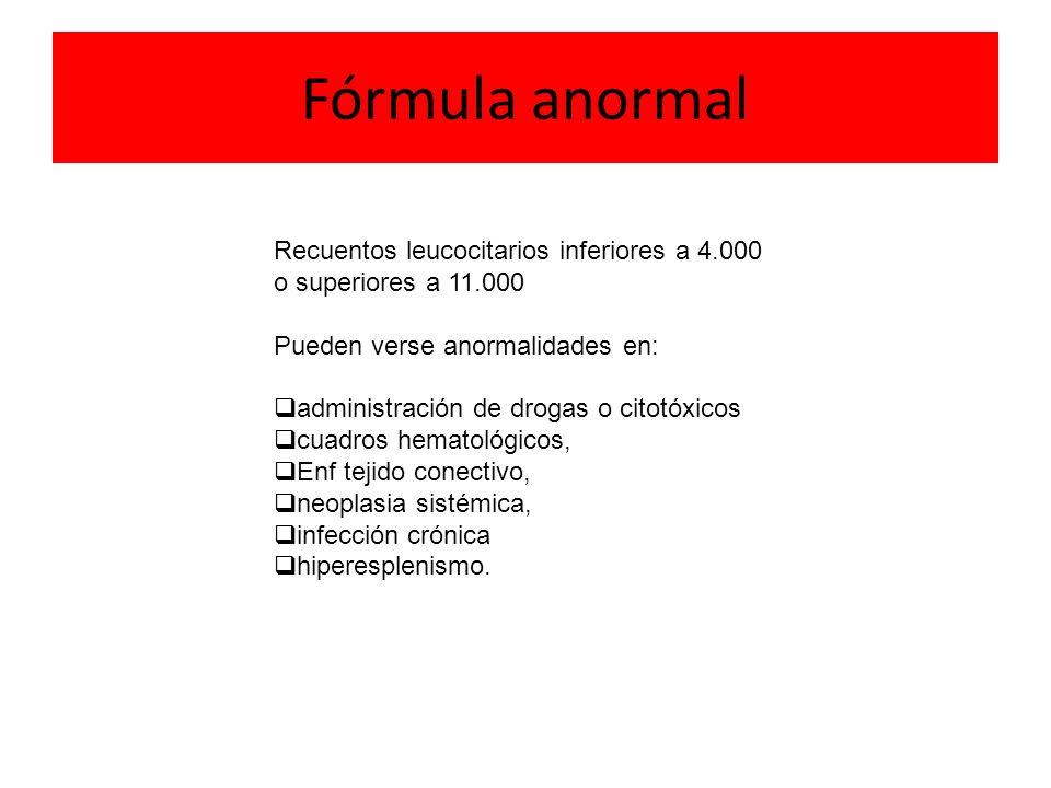 Fórmula anormal Recuentos leucocitarios inferiores a 4.000 o superiores a 11.000 Pueden verse anormalidades en: administración de drogas o citotóxicos