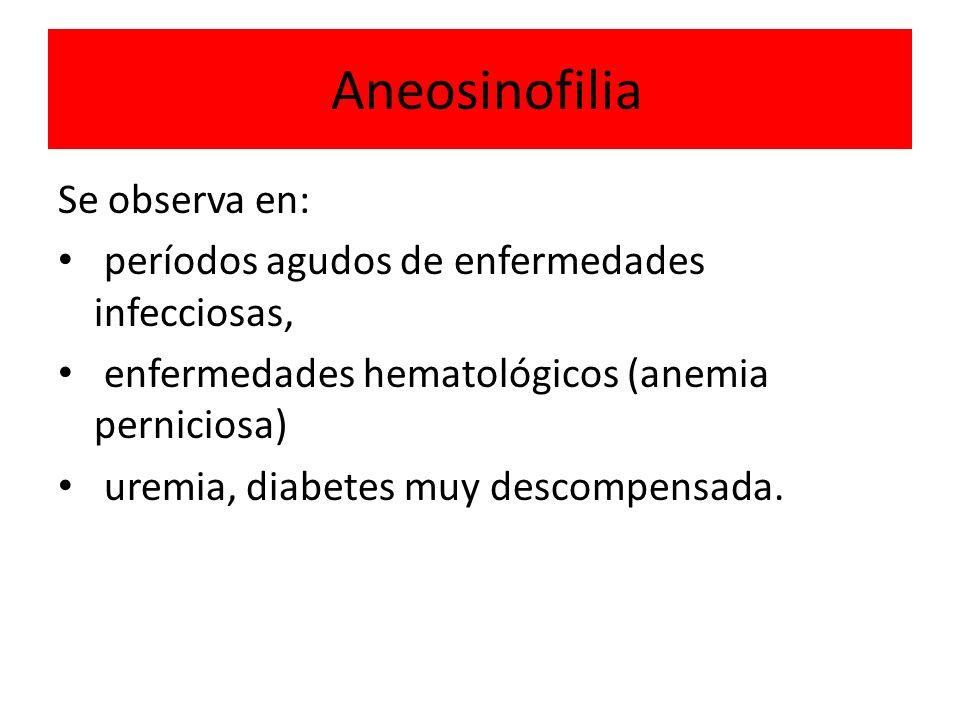 Aneosinofilia Se observa en: períodos agudos de enfermedades infecciosas, enfermedades hematológicos (anemia perniciosa) uremia, diabetes muy descompe