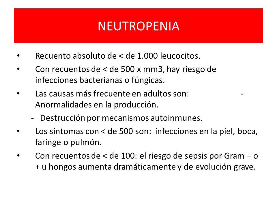 NEUTROPENIA Recuento absoluto de < de 1.000 leucocitos. Con recuentos de < de 500 x mm3, hay riesgo de infecciones bacterianas o fúngicas. Las causas