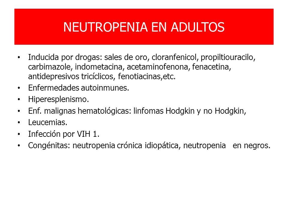 NEUTROPENIA EN ADULTOS Inducida por drogas: sales de oro, cloranfenicol, propiltiouracilo, carbimazole, indometacina, acetaminofenona, fenacetina, ant