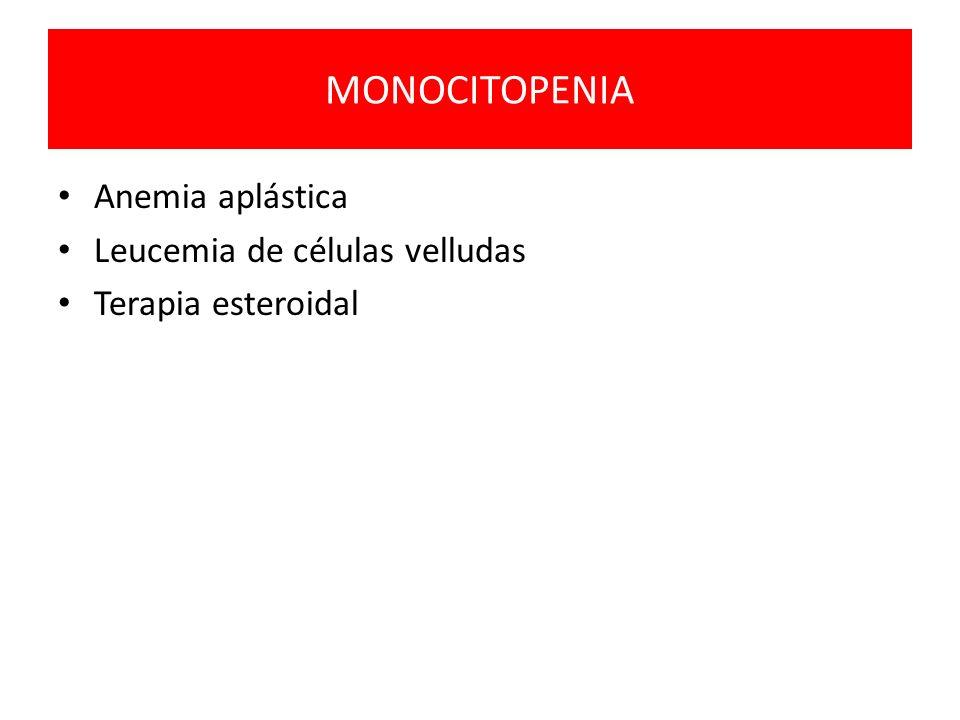 MONOCITOPENIA Anemia aplástica Leucemia de células velludas Terapia esteroidal