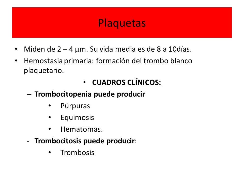 Plaquetas Miden de 2 – 4 µm. Su vida media es de 8 a 10días. Hemostasia primaria: formación del trombo blanco plaquetario. CUADROS CLÍNICOS: – Tromboc