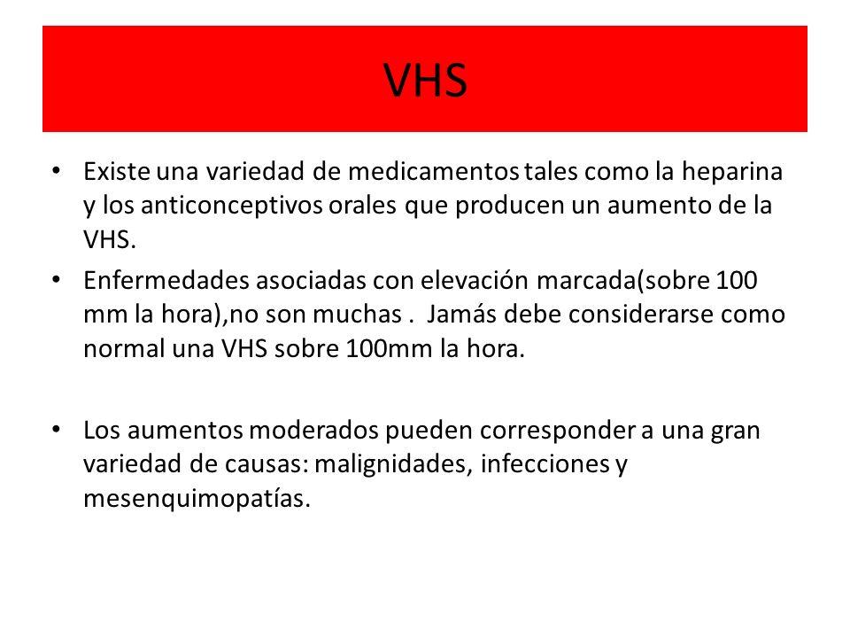 VHS Existe una variedad de medicamentos tales como la heparina y los anticonceptivos orales que producen un aumento de la VHS. Enfermedades asociadas