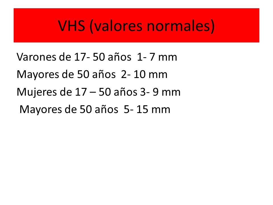 VHS (valores normales) Varones de 17- 50 años 1- 7 mm Mayores de 50 años 2- 10 mm Mujeres de 17 – 50 años 3- 9 mm Mayores de 50 años 5- 15 mm