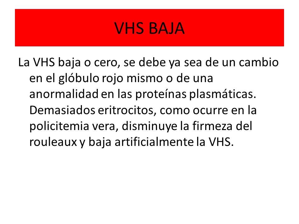 VHS BAJA La VHS baja o cero, se debe ya sea de un cambio en el glóbulo rojo mismo o de una anormalidad en las proteínas plasmáticas. Demasiados eritro