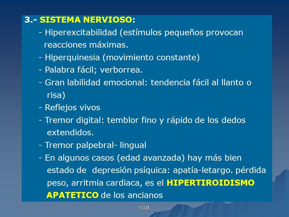 STB 3.- SISTEMA NERVIOSO: - Hiperexcitabilidad (estímulos pequeños provocan reacciones máximas. - Hiperquinesia (movimiento constante) - Palabra fácil