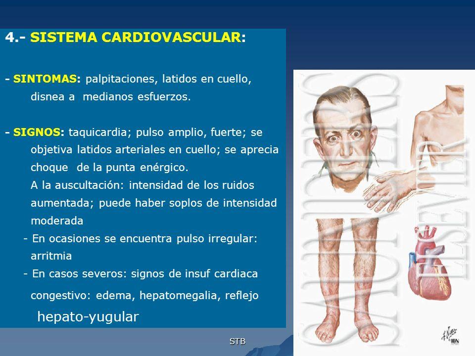 STB 4.- SISTEMA CARDIOVASCULAR: - SINTOMAS: palpitaciones, latidos en cuello, disnea a medianos esfuerzos. - SIGNOS: taquicardia; pulso amplio, fuerte