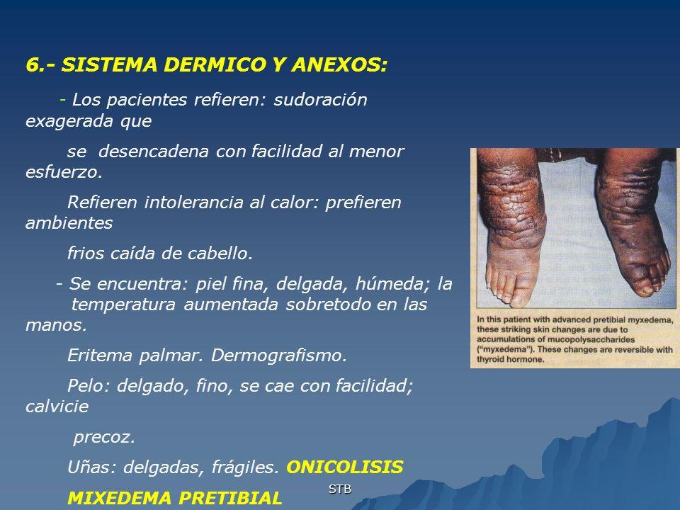 STB 6.- SISTEMA DERMICO Y ANEXOS: - Los pacientes refieren: sudoración exagerada que se desencadena con facilidad al menor esfuerzo. Refieren intolera