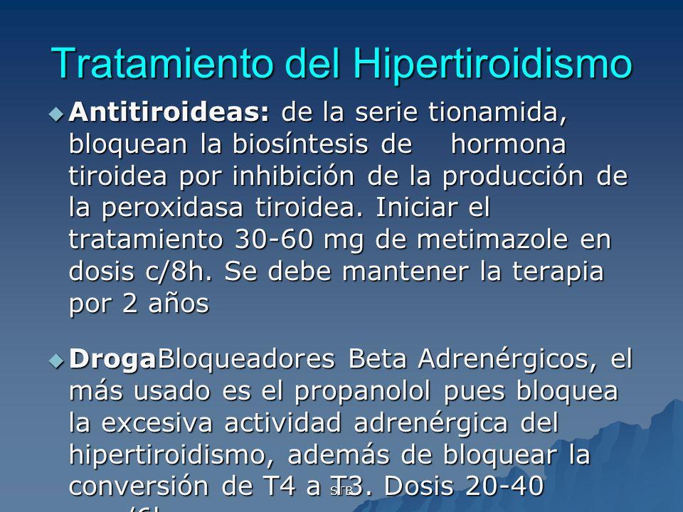 STB Tratamiento del Hipertiroidismo Antitiroideas: de la serie tionamida, bloquean la biosíntesis de hormona tiroidea por inhibición de la producción