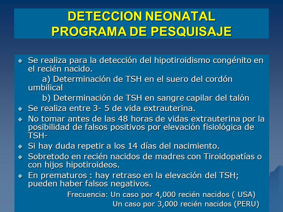 STB DETECCION NEONATAL PROGRAMA DE PESQUISAJE Se realiza para la detección del hipotiroidismo congénito en el recién nacido. Se realiza para la detecc