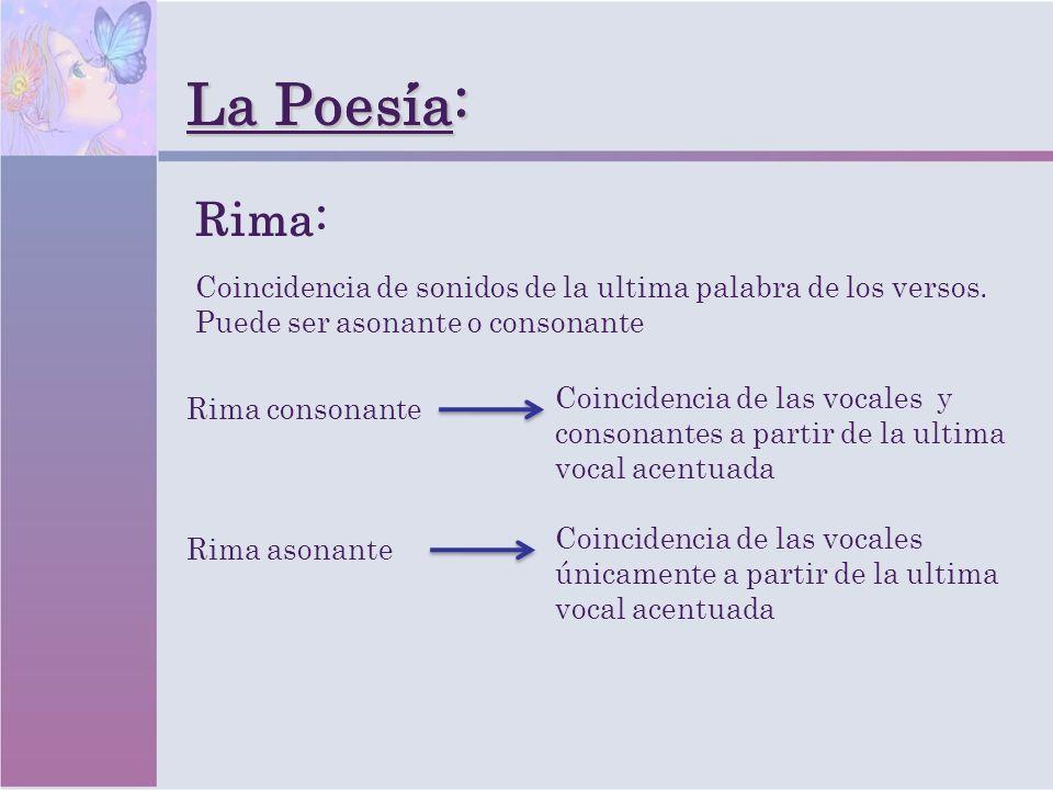 La Poesia: La Poesía: Rima asonante Coincidencia de sonidos de la ultima palabra de los versos. Puede ser asonante o consonante Rima: Coincidencia de