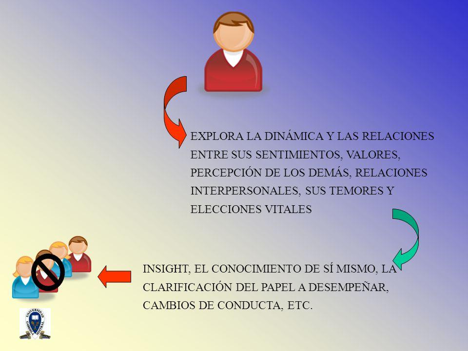 EXPLORA LA DINÁMICA Y LAS RELACIONES ENTRE SUS SENTIMIENTOS, VALORES, PERCEPCIÓN DE LOS DEMÁS, RELACIONES INTERPERSONALES, SUS TEMORES Y ELECCIONES VI
