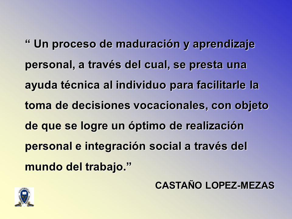 Un proceso de maduración y aprendizaje personal, a través del cual, se presta una ayuda técnica al individuo para facilitarle la toma de decisiones vo