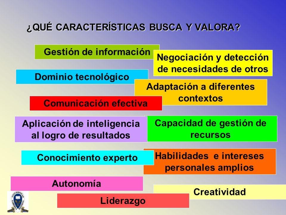 Dominio tecnológico ¿QUÉ CARACTERÍSTICAS BUSCA Y VALORA? Gestión de información Negociación y detección de necesidades de otros Adaptación a diferente