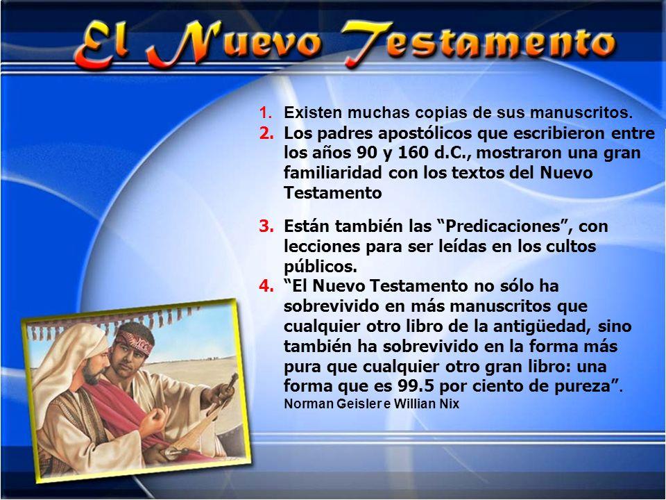 1.Existen muchas copias de sus manuscritos. 2.Los padres apostólicos que escribieron entre los años 90 y 160 d.C., mostraron una gran familiaridad con