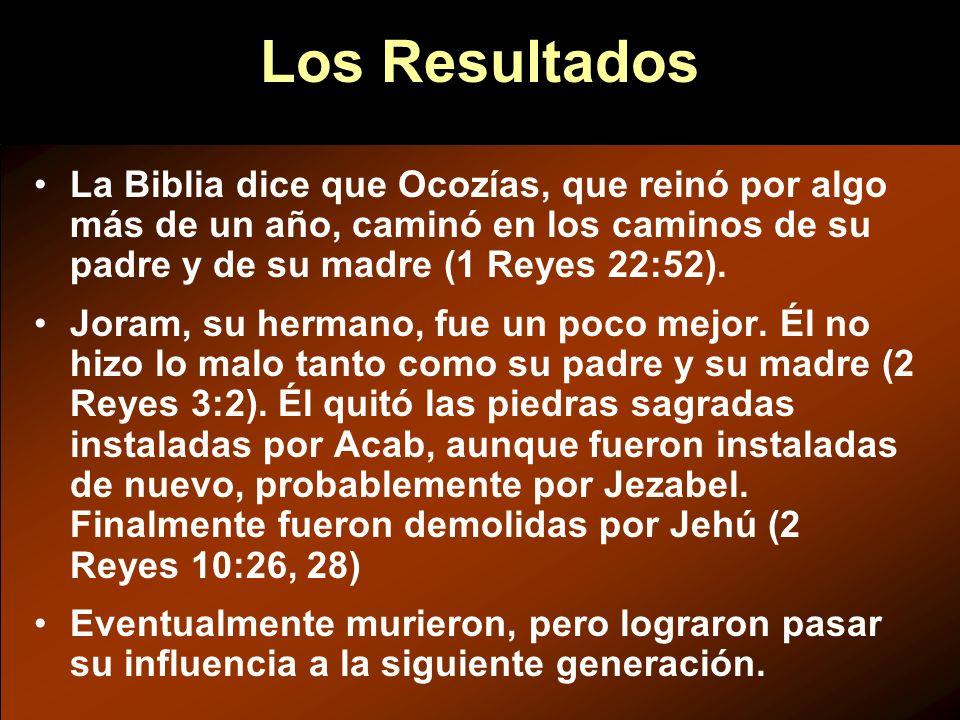 La Biblia dice que Ocozías, que reinó por algo más de un año, caminó en los caminos de su padre y de su madre (1 Reyes 22:52). Joram, su hermano, fue