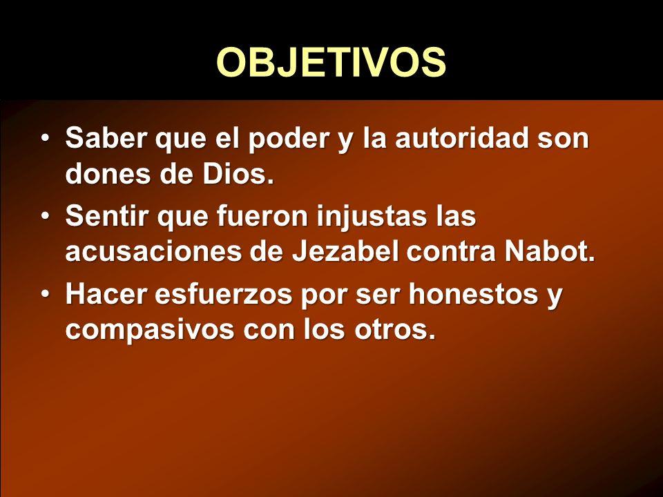 OBJETIVOS Saber que el poder y la autoridad son dones de Dios.Saber que el poder y la autoridad son dones de Dios. Sentir que fueron injustas las acus