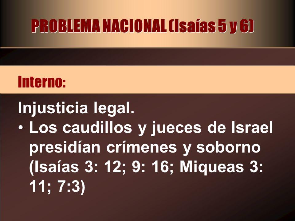 PROBLEMA NACIONAL (Isaías 5 y 6) Insensibilidad hacia los pobres.