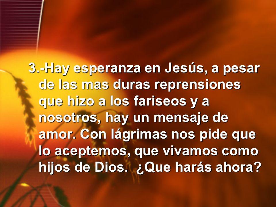 3.-Hay esperanza en Jesús, a pesar de las mas duras reprensiones que hizo a los fariseos y a nosotros, hay un mensaje de amor. Con lágrimas nos pide q