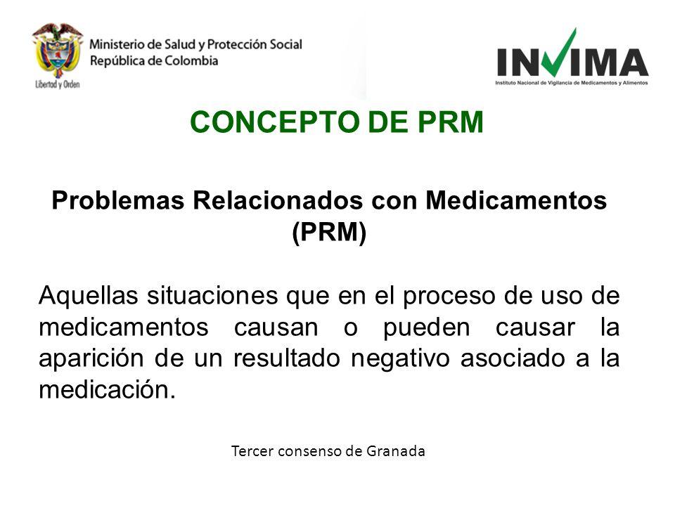 Tercer consenso de Granada CONCEPTO DE PRM Problemas Relacionados con Medicamentos (PRM) Aquellas situaciones que en el proceso de uso de medicamentos