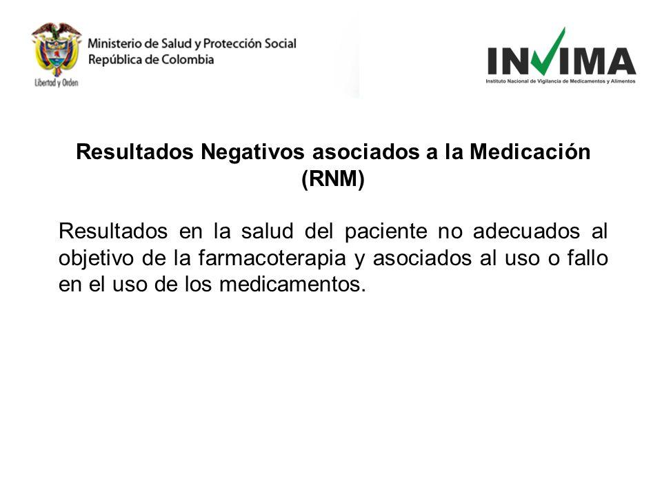 Resultados Negativos asociados a la Medicación (RNM) Resultados en la salud del paciente no adecuados al objetivo de la farmacoterapia y asociados al