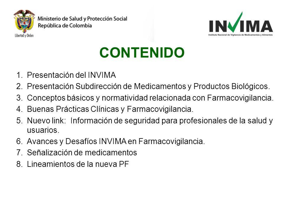 1.Presentación del INVIMA 2.Presentación Subdirección de Medicamentos y Productos Biológicos. 3.Conceptos básicos y normatividad relacionada con Farma
