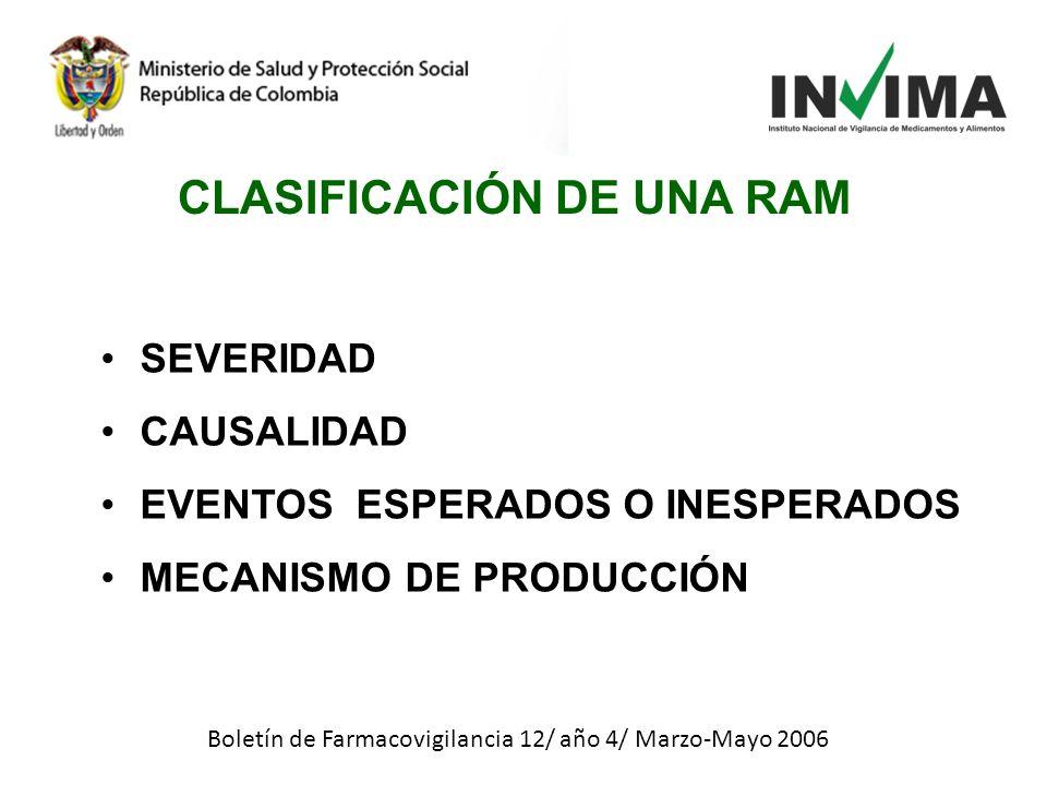SEVERIDAD CAUSALIDAD EVENTOS ESPERADOS O INESPERADOS MECANISMO DE PRODUCCIÓN Boletín de Farmacovigilancia 12/ año 4/ Marzo-Mayo 2006 CLASIFICACIÓN DE