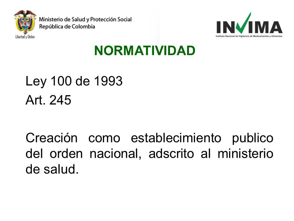 Ley 100 de 1993 Art. 245 Creación como establecimiento publico del orden nacional, adscrito al ministerio de salud. NORMATIVIDAD