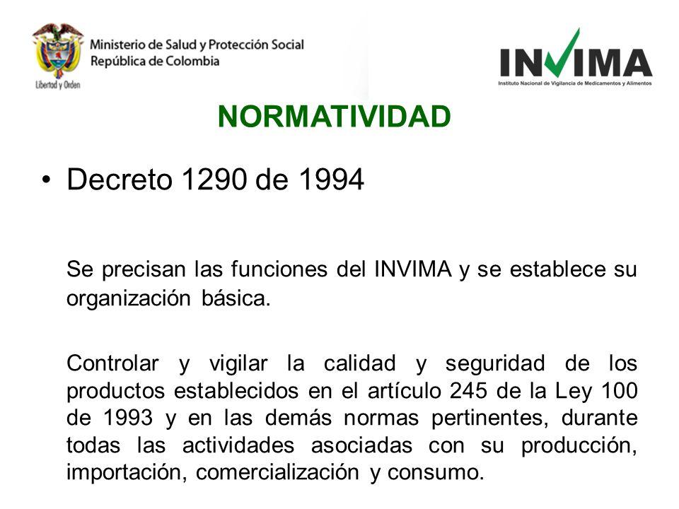 Decreto 1290 de 1994 Se precisan las funciones del INVIMA y se establece su organización básica. Controlar y vigilar la calidad y seguridad de los pro