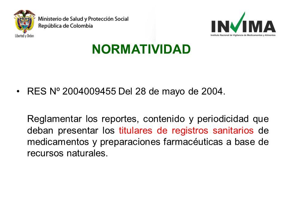 RES Nº 2004009455 Del 28 de mayo de 2004. Reglamentar los reportes, contenido y periodicidad que deban presentar los titulares de registros sanitarios