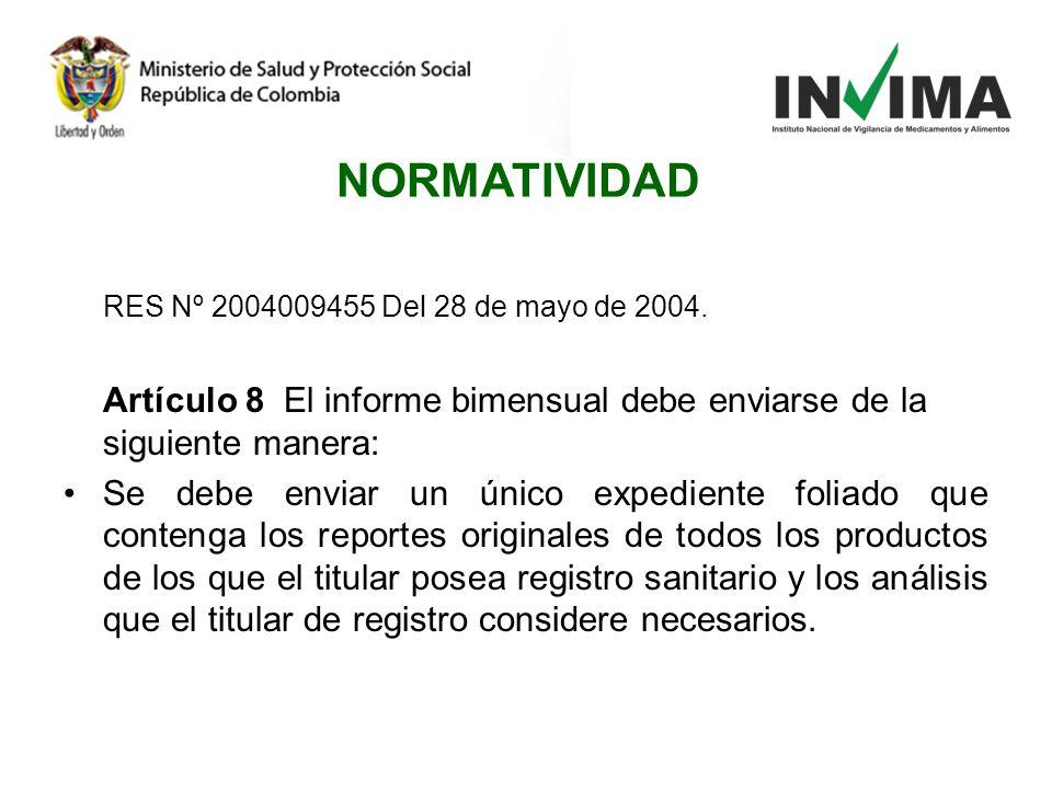 RES Nº 2004009455 Del 28 de mayo de 2004. Artículo 8 El informe bimensual debe enviarse de la siguiente manera: Se debe enviar un único expediente fol