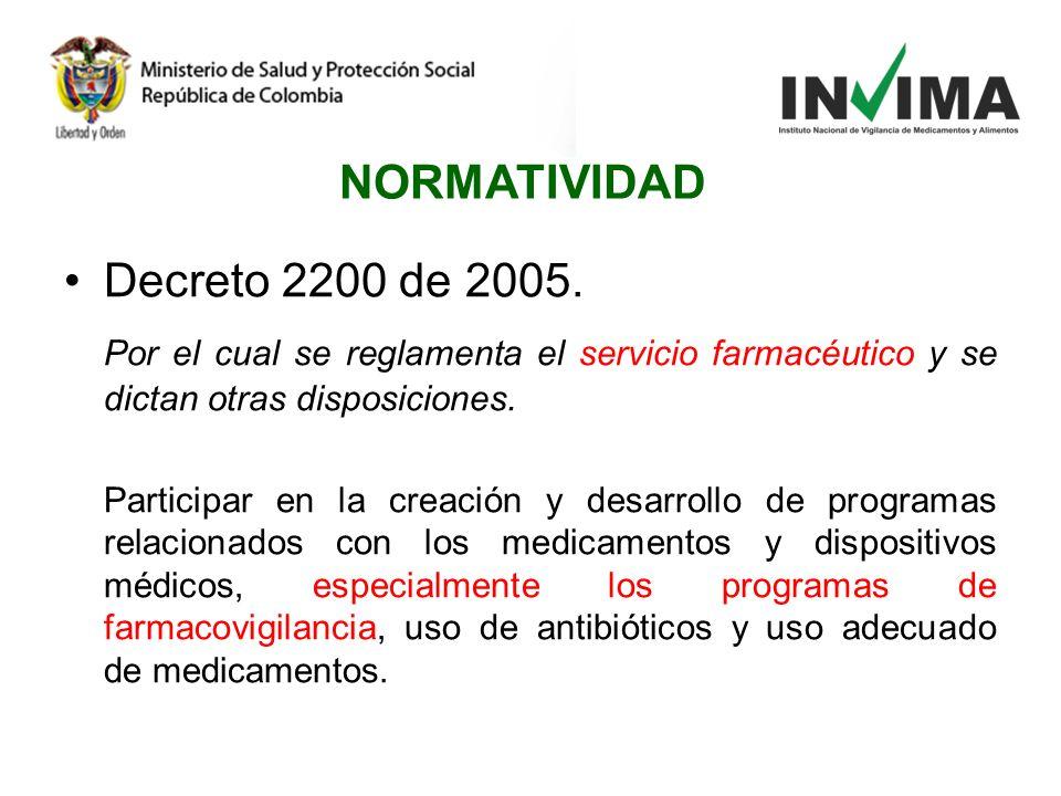 Decreto 2200 de 2005. Por el cual se reglamenta el servicio farmacéutico y se dictan otras disposiciones. Participar en la creación y desarrollo de pr