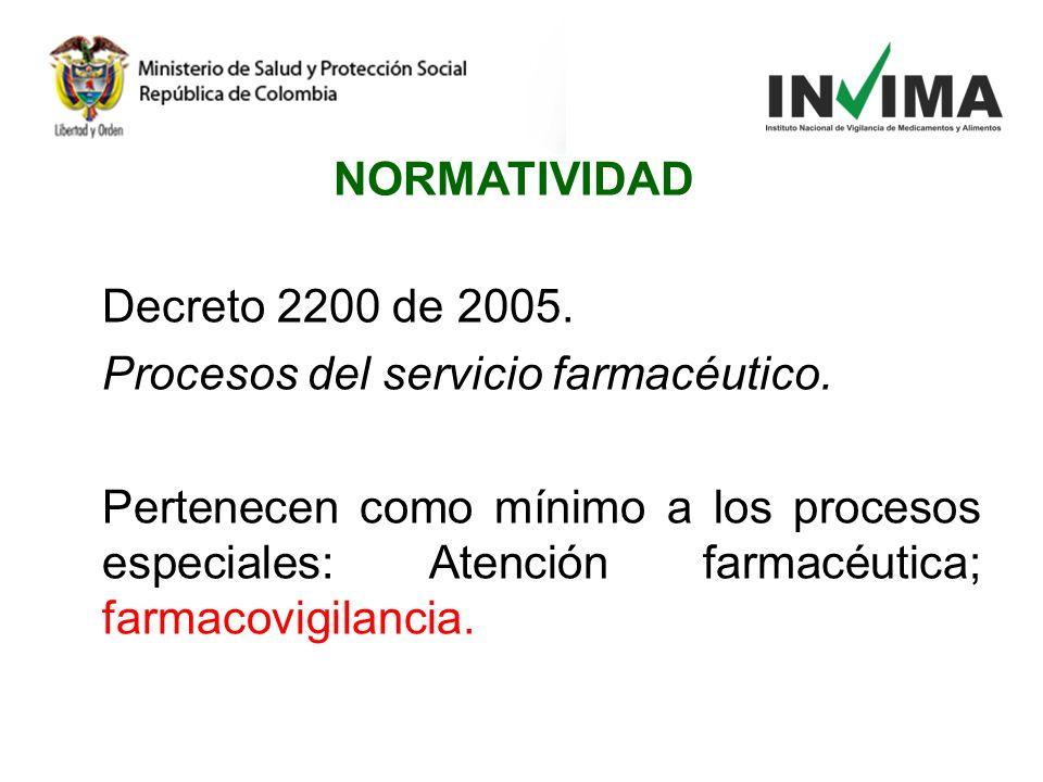 Decreto 2200 de 2005. Procesos del servicio farmacéutico. Pertenecen como mínimo a los procesos especiales: Atención farmacéutica; farmacovigilancia.