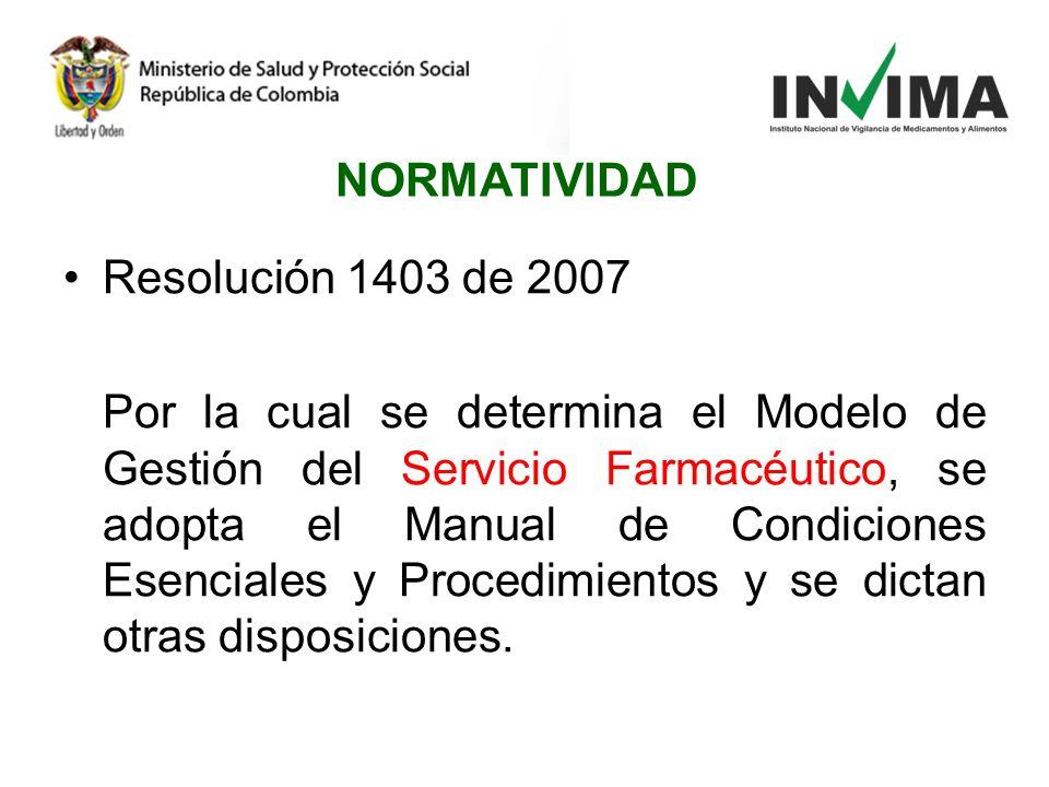 Resolución 1403 de 2007 Por la cual se determina el Modelo de Gestión del Servicio Farmacéutico, se adopta el Manual de Condiciones Esenciales y Proce