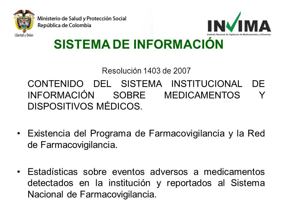 Resolución 1403 de 2007 CONTENIDO DEL SISTEMA INSTITUCIONAL DE INFORMACIÓN SOBRE MEDICAMENTOS Y DISPOSITIVOS MÉDICOS. Existencia del Programa de Farma