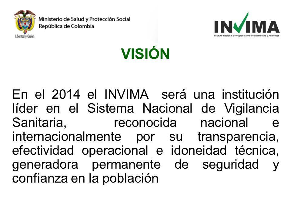 En el 2014 el INVIMA será una institución líder en el Sistema Nacional de Vigilancia Sanitaria, reconocida nacional e internacionalmente por su transp