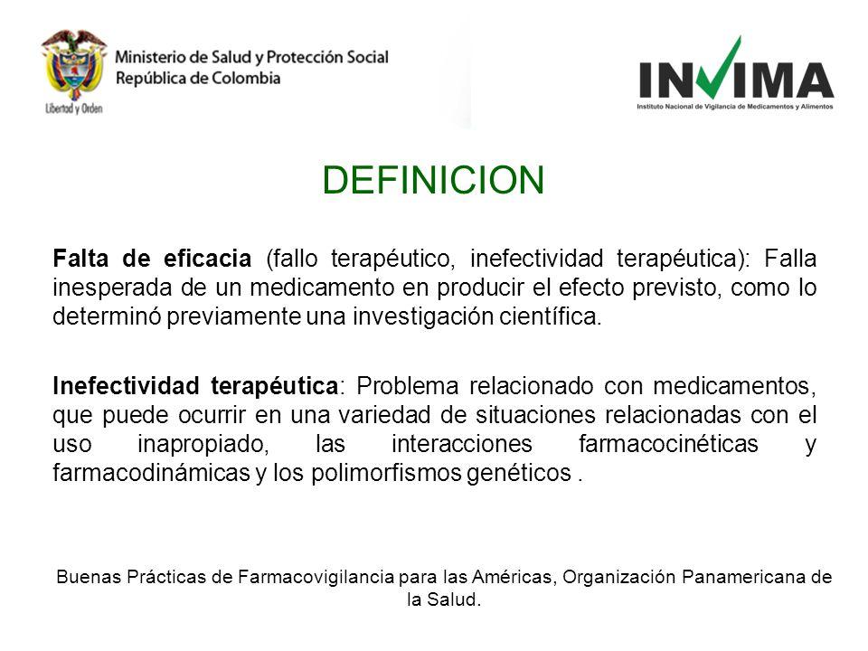 DEFINICION Falta de eficacia (fallo terapéutico, inefectividad terapéutica): Falla inesperada de un medicamento en producir el efecto previsto, como l