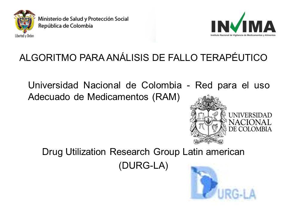 ALGORITMO PARA ANÁLISIS DE FALLO TERAPÉUTICO Universidad Nacional de Colombia - Red para el uso Adecuado de Medicamentos (RAM) Drug Utilization Resear